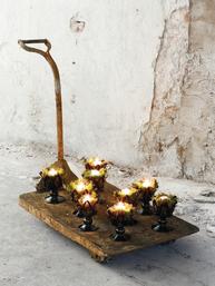 Stor ljushållare ljusstake i svart glas Olsson & Jensen shabby chic lantlig stil