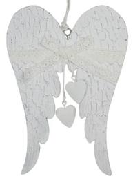Vita änglavingar i trä hjärta spets shabby chic lantlig stil