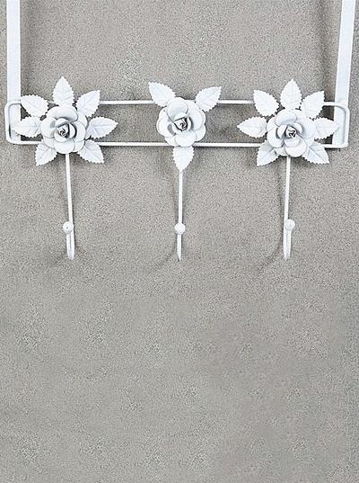 Dörrhängare krokhängare 4 krokar  vit smide rosor antik stil shabby chic lantlig stil