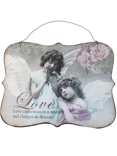 Skylt plåttavla Love änglar romantisk shabby chic lantlig stil