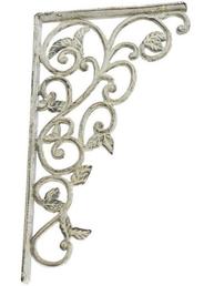 Antikvit vit konsoll hyllbärare gjutjärn stor löv shabby chic lantlig stil