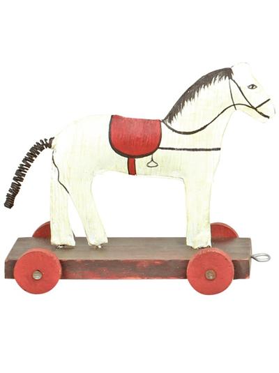 Häst vintage plåt trä på hjul shabby chic lantlig stil