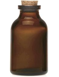 Glasflaska apoteksflaska lite brun med kork shabby chic lantlig stil