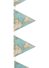 Vimplar stora vintage karta vimpelslinga flaggor lantlig stil shabby chic