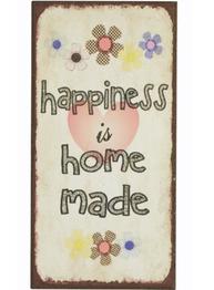 Plåtskylt med magnet  Happiness is home made shabby chic lantlig stil