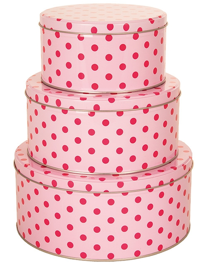 Plåtburk 3 storlekar rund rosa rosa prickig shabby chic lantlig stil