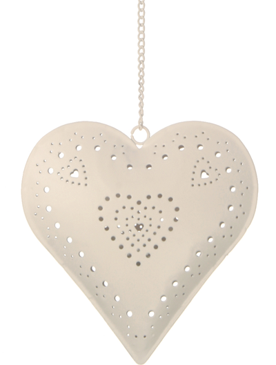 Hjärtlykta lykta vit smideshjärta romantisk shabby chic lantlig stil fransk lantstil