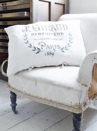 Kuddfodral vit linnetyg Giraud Jeanne D' Arc Living shabby chic lantlig stil