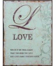 Plåtskylt Love shabby chic lantlig stil