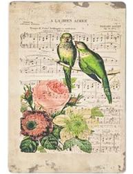 Plåtskylt skylt gammaldags Notblad Blommor Fåglar romantisk shabby chic lantlig stil