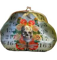 Börs med knäppe portmonä sminkväska Skull döskalle Van Ash