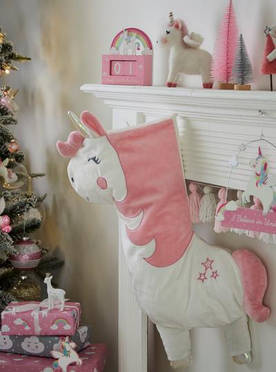 Julstrumpa rosa Enhörning shabby chic lantlig stil fransk lantstil.