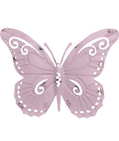 Stor fjäril väggdekoration rosa plåt vintage shabby chic lantlig stil