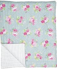 GreenGate Quilt Vera Pale Grey 140x200cm pläd enkelsäng shabby chic lantlig stil