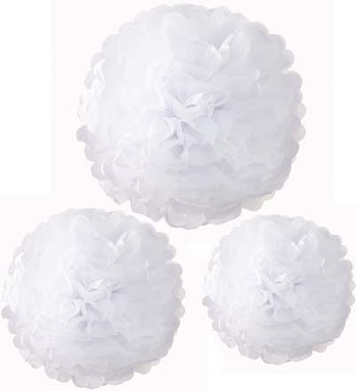 3 set Pappersblomma pompoms vita