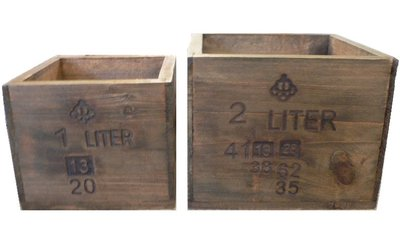 Trälåda antik brunt trä 5 deciliter litermått shabby chic lantlig stil