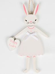 Kanin påskhare kaninflicka vit med hjärta Happy Easter trä shabby chic lantlig stil