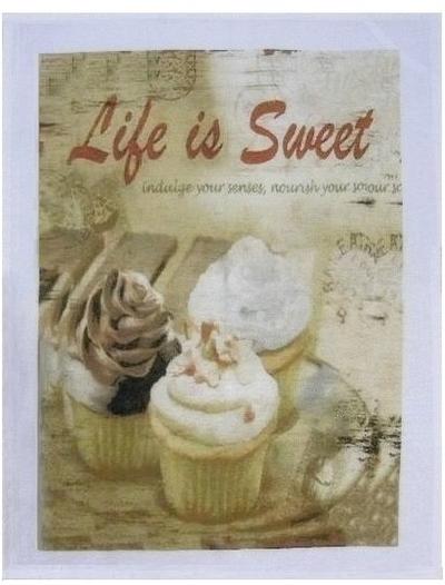 Handduk kökshandduk Cupcake Life is sweet shabby chic lantlig stil