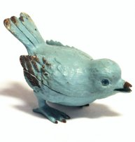 Turkos smyckesgömma ask metall fågel litet smyckesskrin shabby chic lantlig stil