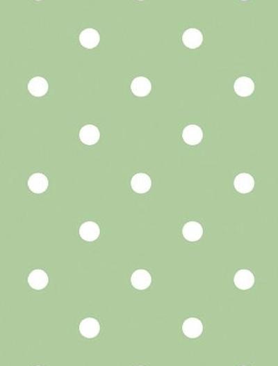 Vaxduk ljusgrön stora vita prickar shabby chic lantlig stil