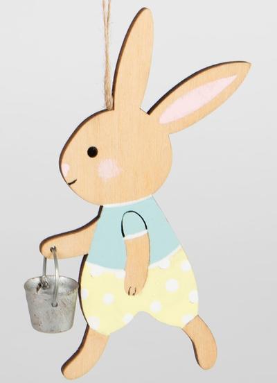 Kanin påskhare kaninpojke med hink trä shabby chic lantlig stil