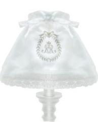 Lampkjol lampskärm monogram vit linne-broderi och spets shabby chic lantlig stil