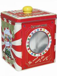 Gammaldags karamellbutk plåtburk Bonbons med fönster och knopp Fransk lantstil
