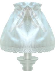 Lampkjol lampskärm monogram vit vitt broderi och spets shabby chic lantlig stil