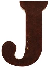 J stor plåtbokstav rostbrun färg industristil