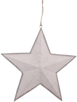 Stor vit stjärna i metall ornamenterad shabby chic lantlig stil