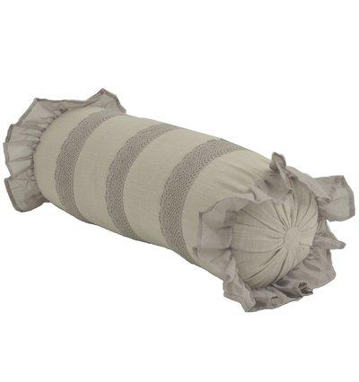 Linnefärgad pöl rund kudde med spets och volang shabby chic lantlig stil