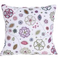 Kuddfodral vitt rosa blå grönt blommönster shabby chic lantlig stil