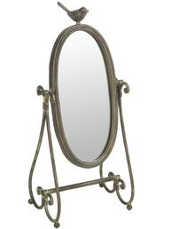 Spegel romantisk med fågel bordsspegel shabby chic lantlig stil