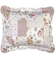 Kuddfodral vit rosa rosor linne-beige quiltat shabby chic lantlig stil