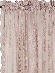 Rosa ljusrosa puderrosa gammaldags spetsgardin rosor medaljong 2 st shabby chic lantlig stil