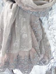 Romantisk sjal i spets Ljus Plommon shabby chic lantlig stil