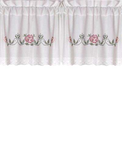 Kappa gardinkappa metervara vit med rosa rosbroderi korsstygn spets shabby chic lantlig stil