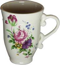 Vit rosmugg mugg med rosor gammaldags svensk shabby chic lantlig stil
