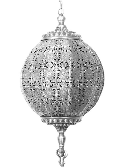Rund stor antiksilverfärgad taklampa bollampa orient genombrutet spetsmönster
