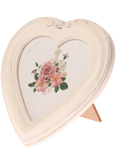 Fotoram ram vit trä hjärta ornament shabby chic lantlig stil