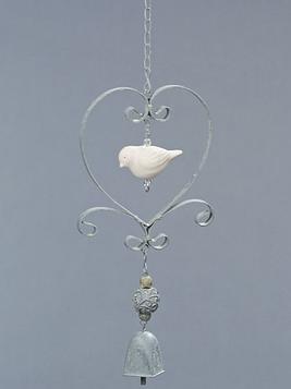 Hjärta hänge fågel vindspel klocka shabby chic lantlig stil