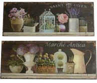 Plåtskylt Vintage fågelbur urna rosor kanna fransk lantstil shabby chic lantlig stil