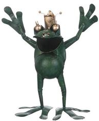 Sprallig groda i grön metall guldkrona grodprins