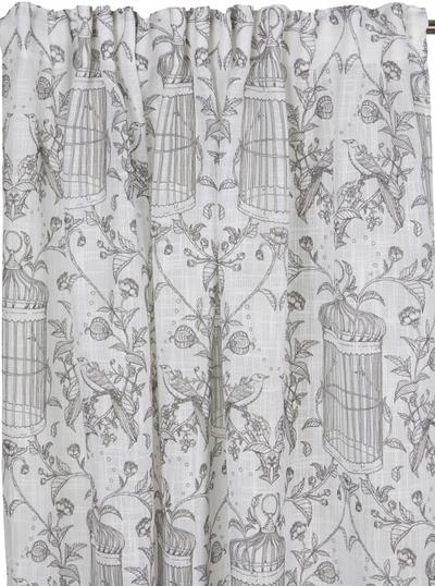 2 st Gardinlängder vit Fågelbur och Rosor shabby chic Romantisk lantlig stil