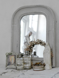 Kaminspegel trä Antique vit Jeanne d´Arc Living shabby chic lantlig stil