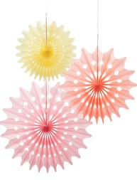3 set Pappers dekorationer i pastell fan deco shabby chic lantlig stil